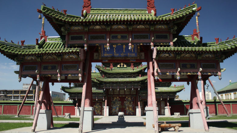 The gate leading to the temples of the Bogd Khan Winter Palace.